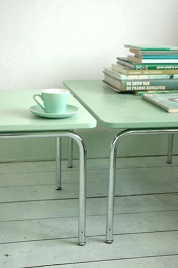 modern mint green tables