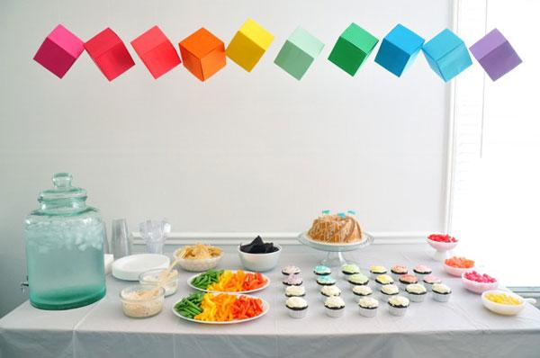modern rainbow party table