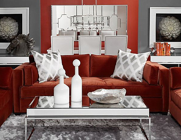 Red Sofa With Grey Walls Memsahebnet - Deep red accent wall