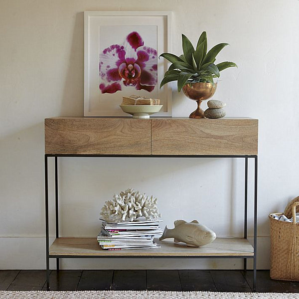 Modern wooden console table decoist for Contemporary tabletop decor