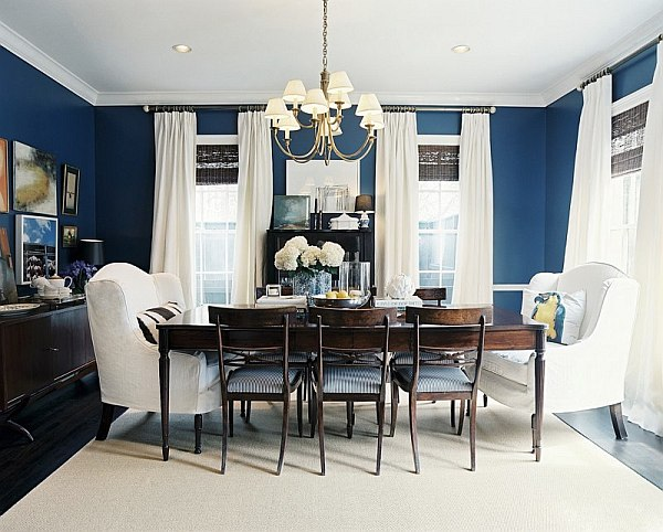 Navy blue and white, perfect for a fancy dining table design