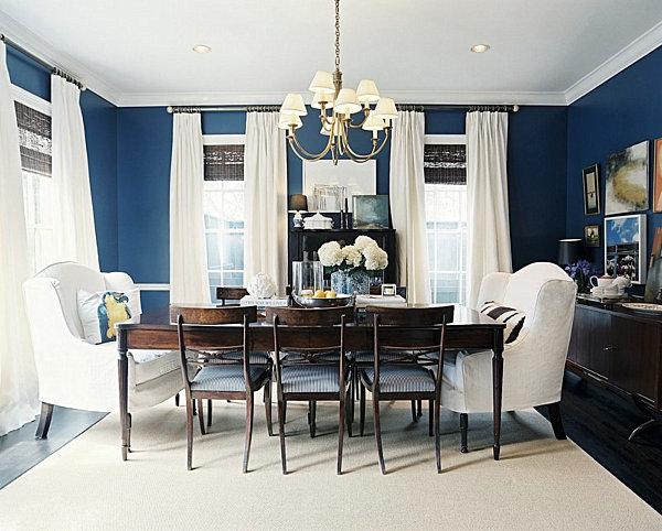 From navy to aqua summer decor in shades of blue for Navy dining room ideas