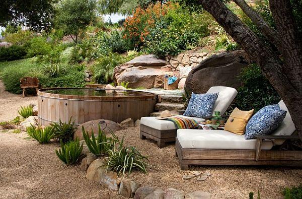 old-redwood-tub-spas-in-backyard-rustic-landscape