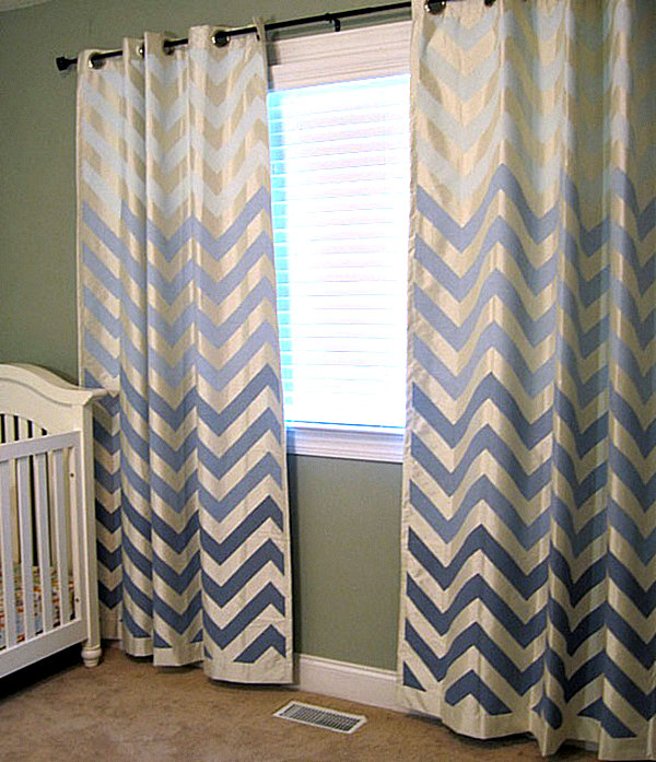 Create a color gradient with ombre design for Chevron curtains in living room