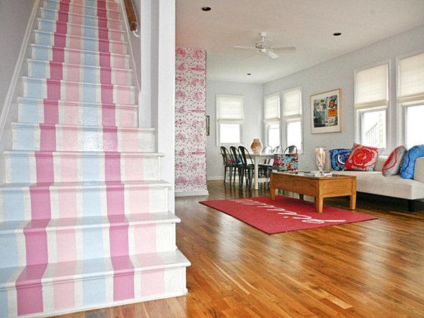 pastel striped stair