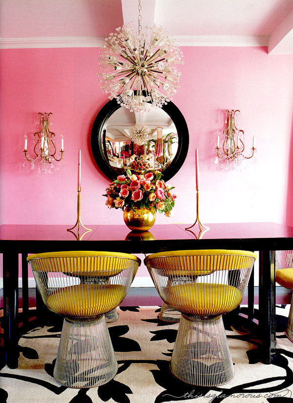pink and gold dining room