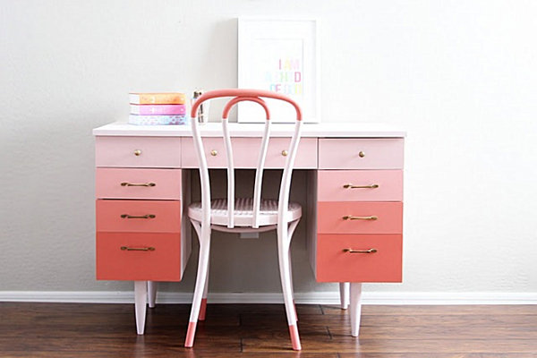 pink ombre desk