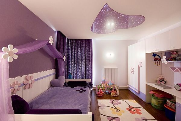 purple and pink teenage girls room