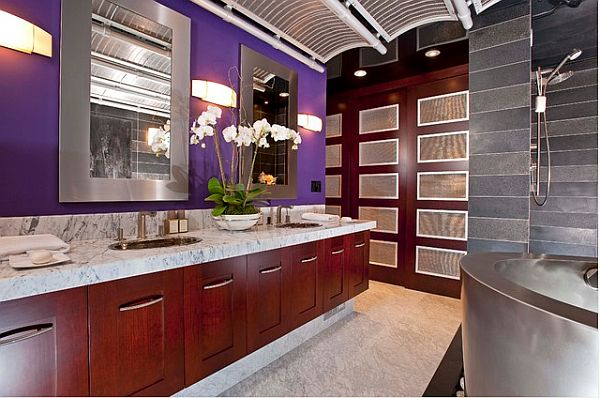 Decorating with purple purple rooms designs for Red and gold bathroom accessories