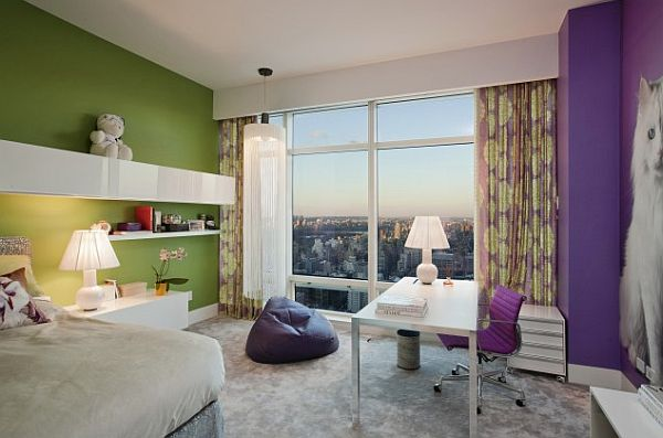 Purple green and grey teen bedroom decoist - Green and grey room ideas ...