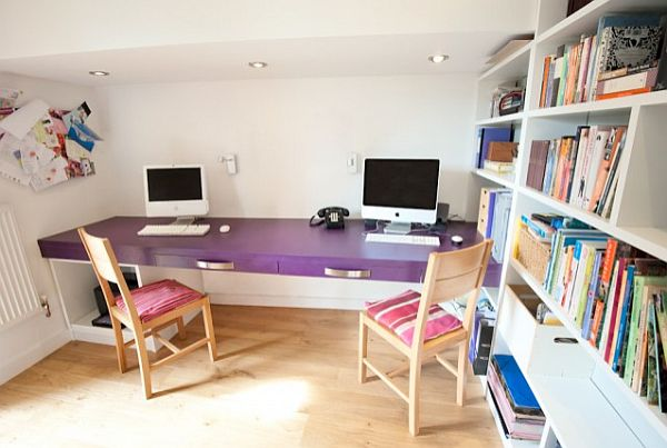 purple home office desk