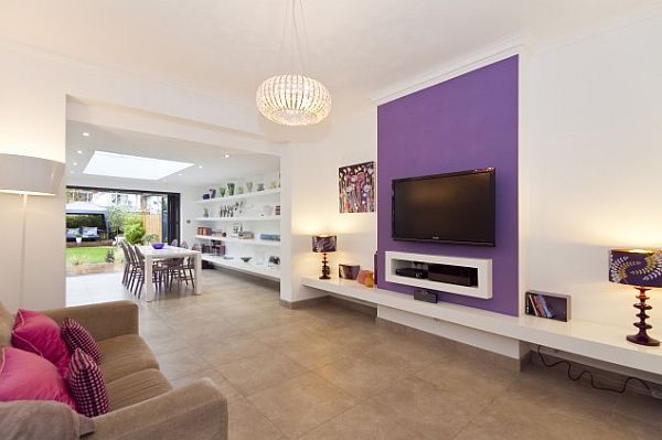purple tv wall mixing with white walls leisure room