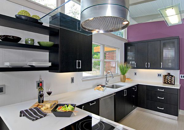 Purple Wall In White And Black Kitchen Design
