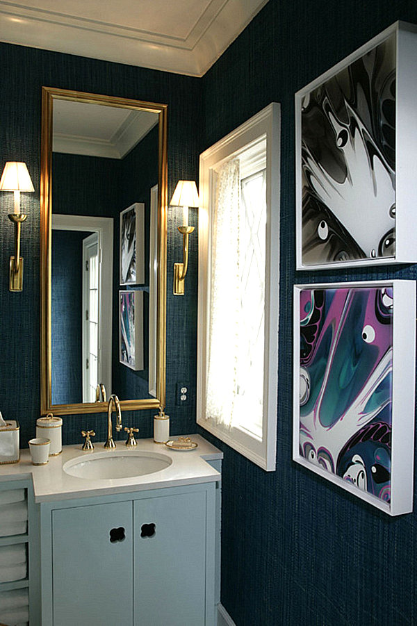 From navy to aqua summer decor in shades of blue for Blue and gold bathroom sets