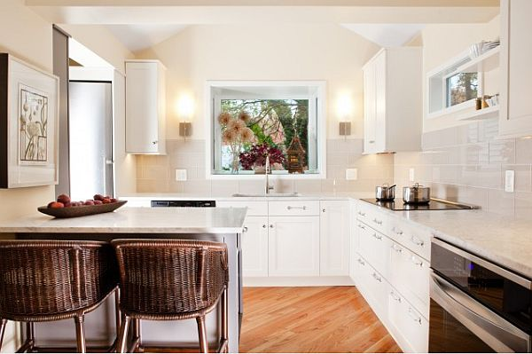 small contemporary g-shape white kitchen design