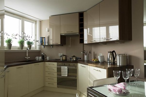 small glossy kitchen with lots of storage space