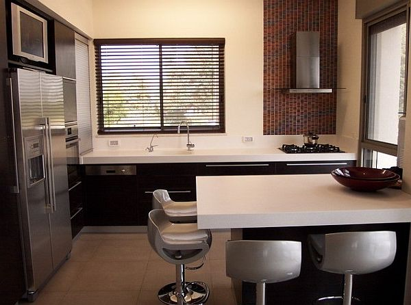 small kitchen design with separate island seating