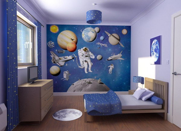 with robots in space theme kids bedroom with a space theme wall design