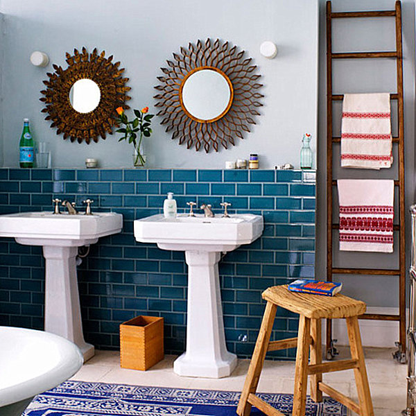 teal blue bathroom tile