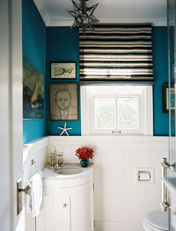 Chair rail paint ideas nursery - The Philosophy Of Interior Design Navy And Teal In The Bathroom