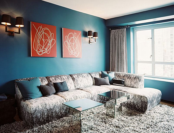 Teal blue living room decoist for Teal blue living room ideas