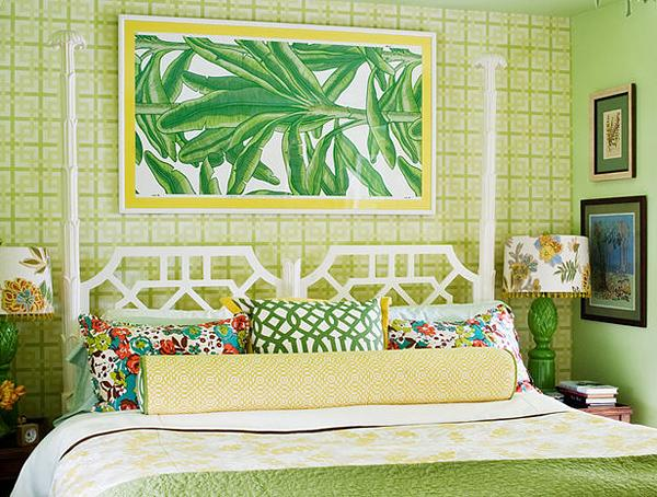 Make a splash with tropical interior design for Bedroom interior designs green