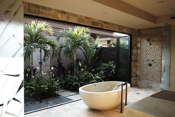 tropical inspired bathroom with modern tile