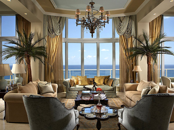 upscale tropical living room