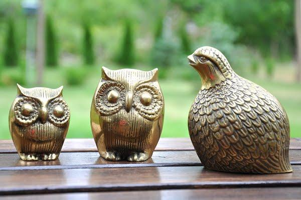 vintage brass owls and quail