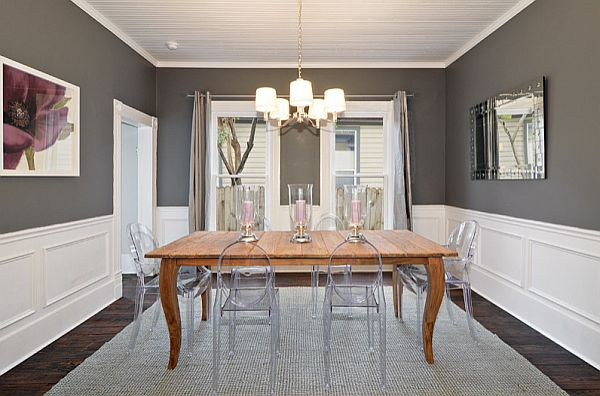 warm charcoal black and white dining room A Beautiful Threesome: Colors and Fibers that Express Home Style Love