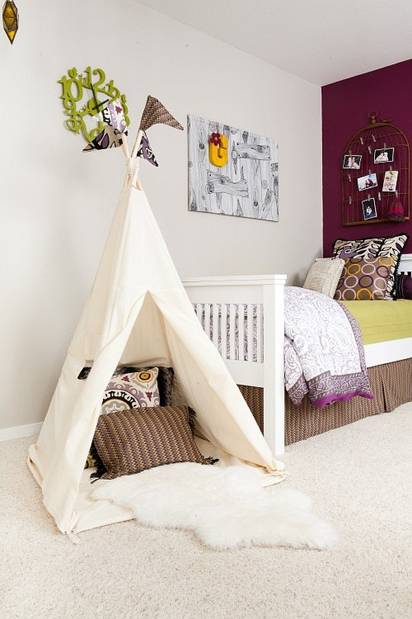 white and purple kids room with white tent