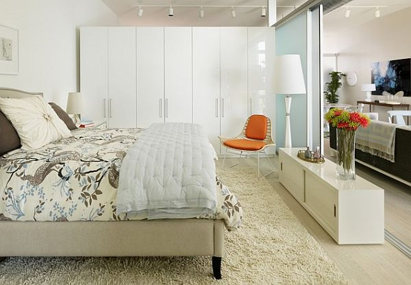 White Modern Bedroom In Los Angeles Small Apartment