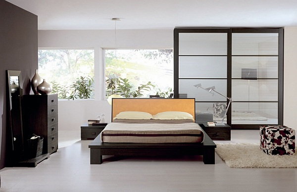 white wooden flooring bedroom design