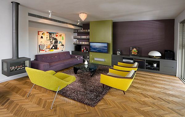 Yellow green and purple modern living room with fireplace for Modern living room green