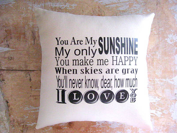 you are my sunshine – typography pillow