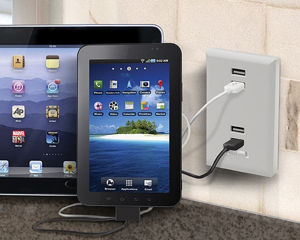 4-port USB wall plate charger