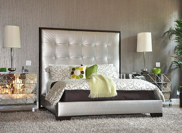 70s Design Silver Upholstered Bed With Mirrored Nightstands And A