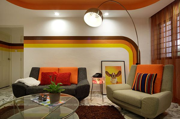 70s interior design furniture ideas for Modern retro living room ideas