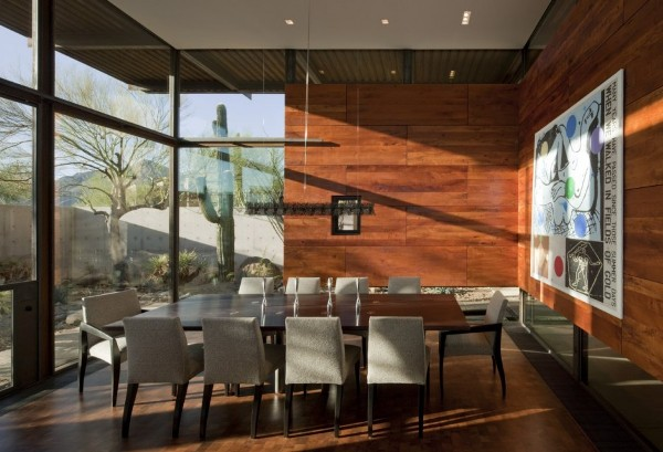 Brown-Residence-wooden-wall-dining-room-design