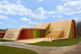 Spanish Pavilion Design Resembles a Ski Ramp With a Splurge of Color