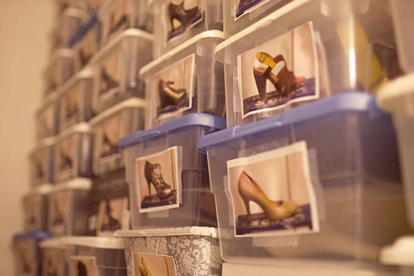 DIY shoe storage in plastic boxes