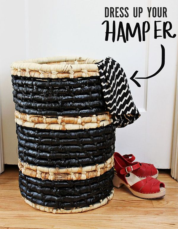 DIY hamper painted with a black coat