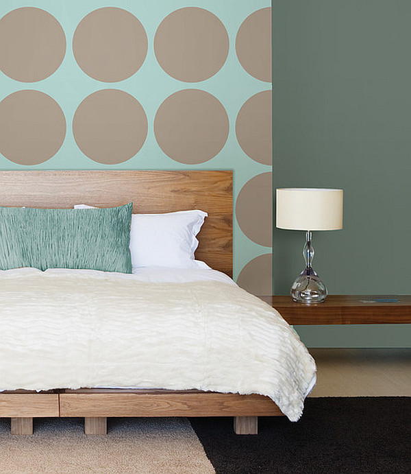 DIY polka dot wall with soothing taupe hue
