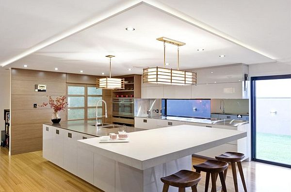 View In Gallery Japanese Contemporary Kitchen Design With White Furniture  And Large Island