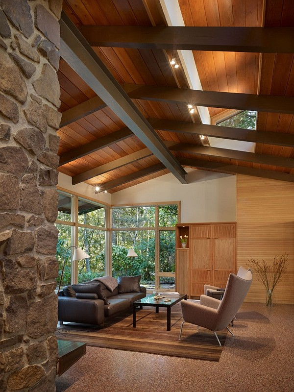 Lake Forest Park Renovation – wood and stone living area