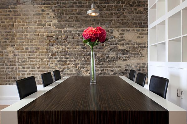 London-Apartment-contemporary-dining-table-with-wooden-accents