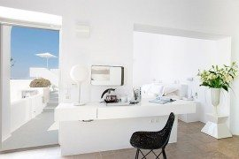 Luxurious white interior in santorini villa