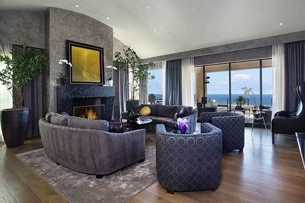 Luxury Beach House, Laguna Beach, California – blue inspired living room