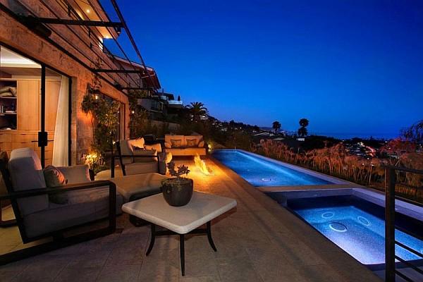 Luxury Beach House, Laguna Beach, California - lap pool on outdoor terrace