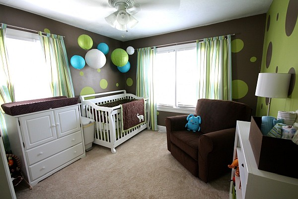 Nursery room with colorful different shaped polka dots